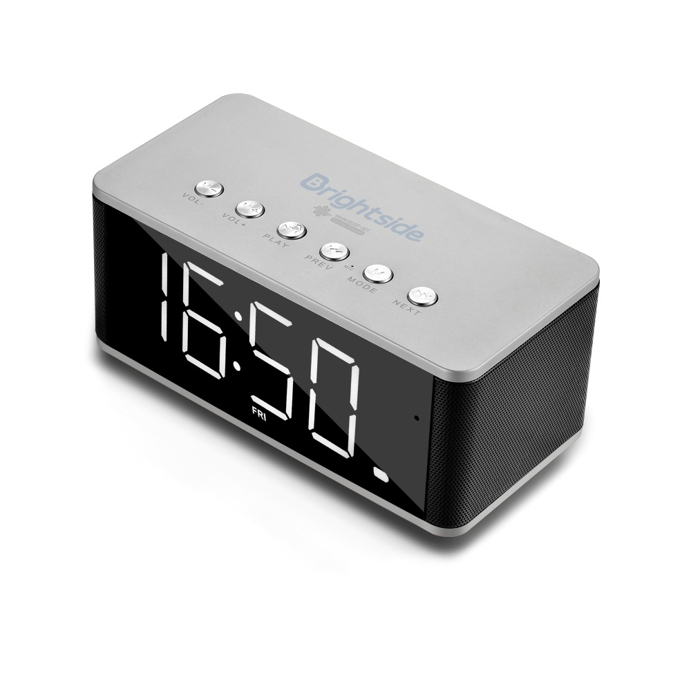 Bluetooth-clock-speaker-gray
